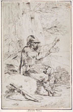 FELICE GIANI, An Armed Man, in the Manner of Salvator Rosa, pen