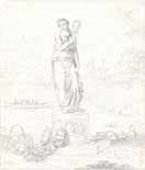 FELICE GIANI, Classical Landscape with a Statue of the Muse Thalia, black chalk