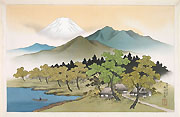 HARUMITSU UTAGAWA, Landscape with Mount Fuji and a Lake, ink and colour on silk