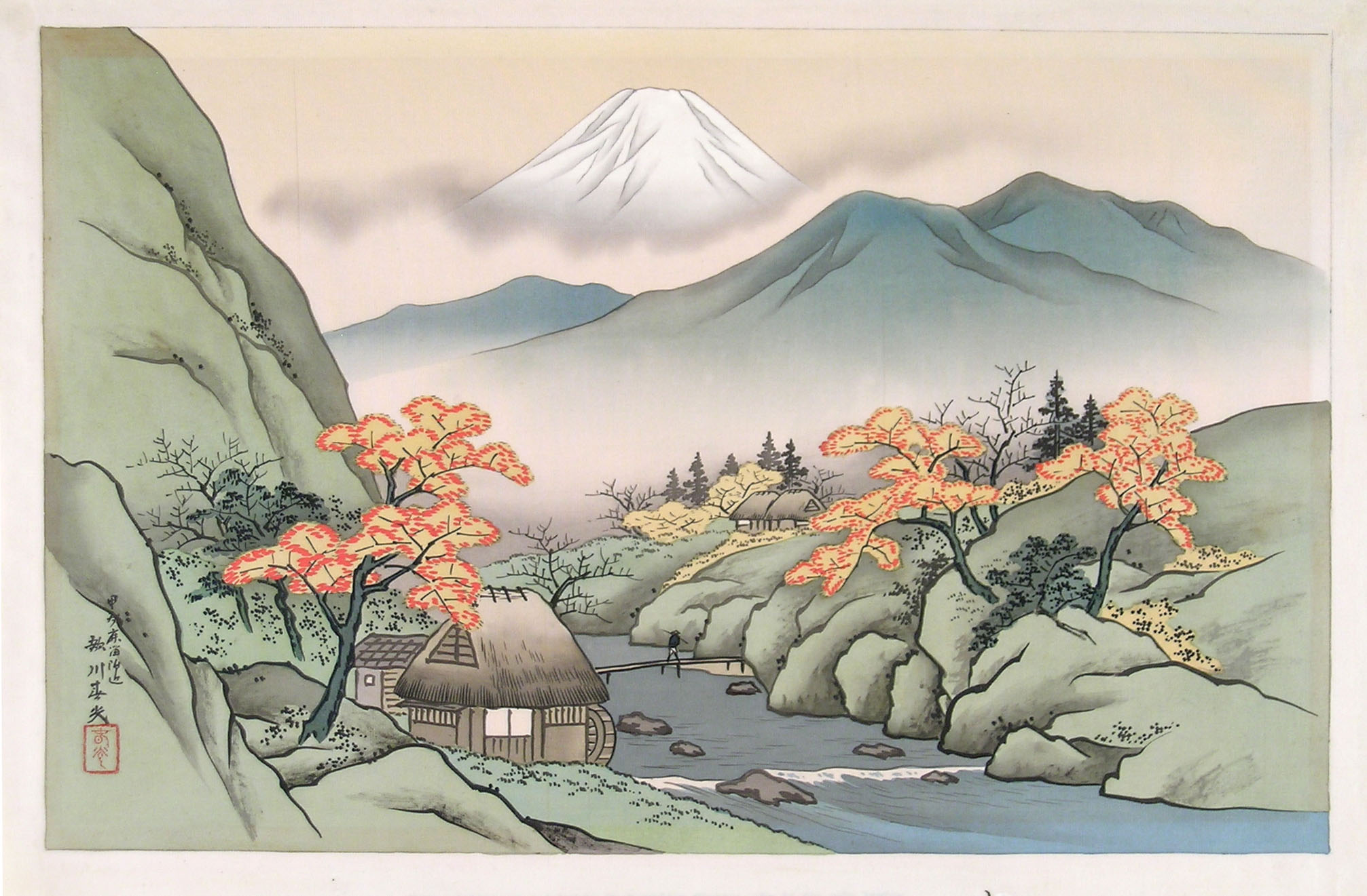 Harumitsu, landscape with Mount Fuji and a torrent
