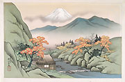 HARUMITSU UTAGAWA, Landscape withy Mount Fuji and a Torrent, ink and colour on silk