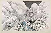 HARUMITSU UTAGAWA, Landscape with Mountain Gorge in the Snow, ink and colour on silk