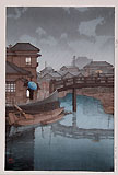 HASUI, Rain at Shinagawa, woodcut