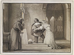 FRANCESCO HAYEZ, gli Sponsali di Giulietta e Romeo, 1830, Pen with dark brown ink over traces in black chalk, washed in grey and brown, heightened with white and yellow