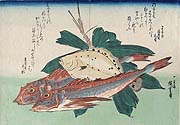HIROSHIGE, Gurnards, Flatfish, Bamboo Leaf and Straw, woodcut