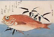 HIROSHIGE, Rock-Fish and Bamboo Grass, woodcut