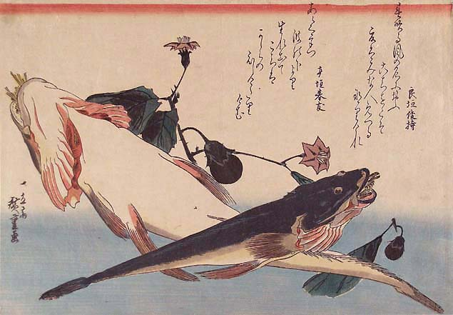 Hiroshige, bartail flatheads and a flowering egg-plant