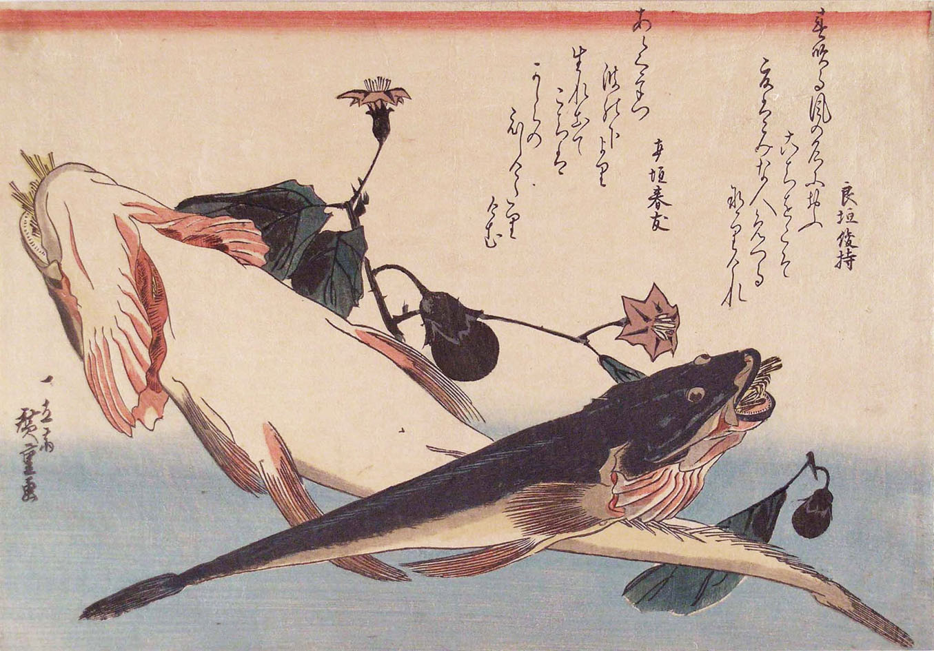 hiroshige bartail flatheads and a flowering egg plant