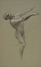 ADOLF HIREMY HIRSCHL, Male standing figure screaming, black chalk