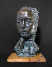BRUNO INNOCENTI, Portrait of Greta, bronze, green patina