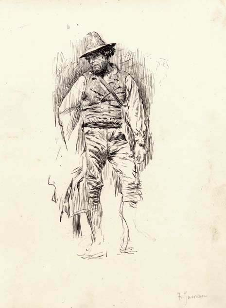 Francesco Jacovacci, standing peasant man