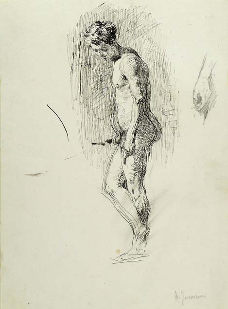 Francesco Jacovacci, standing male nude