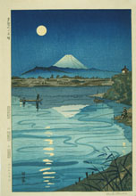 KOICHI, Moon over Tama River, woodcut