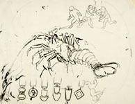 KUNIYOSHI, Sketch of a Lobster, original drawing in sumi ink, preparatory for a uchiwa-e