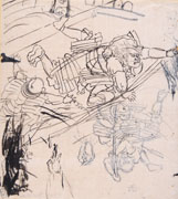 KUNIYOSHI, Two Warriors Struggling, original sumi drawing