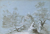 LUDOVICO LAMBERTI, attr. to, Country Landscape with Bridge and Two Figures, pen and brush, heightened with white