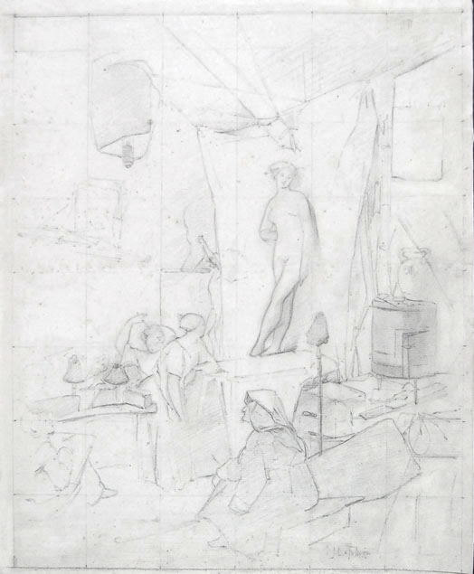 Jules Lefebvre, a drawing class