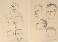CARLO LEVI, Mussolini and Other Fascist Leaders, a pair of black chalk drawings