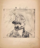 ANTONIO LIGABUE, Self-portrait with Jokey Hat, drypoint, artist's proof