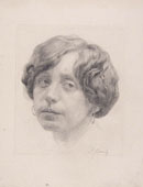 SIGMUND LIPINSKY, Portrait of a Woman, black chalk