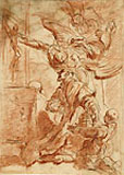 ALESSANDRO MAGNASCO,A Male Saint Adoring the Crucifix, red chalk and pen