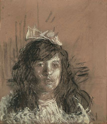 ANTONIO MANCINI, Portrait of a Young Girl, charcoal and white crayon