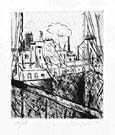 ALBERTO MANFREDI, Rue Delambre seen through a window, drypoint