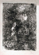 POMPEO MARIANI, Lady in the Woods, monotype