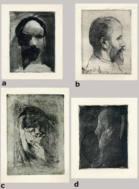 Piero Marussig, four etchings