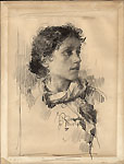 FRANCESCO PAOLO MICHETTI, Portrait of a Girl, pen