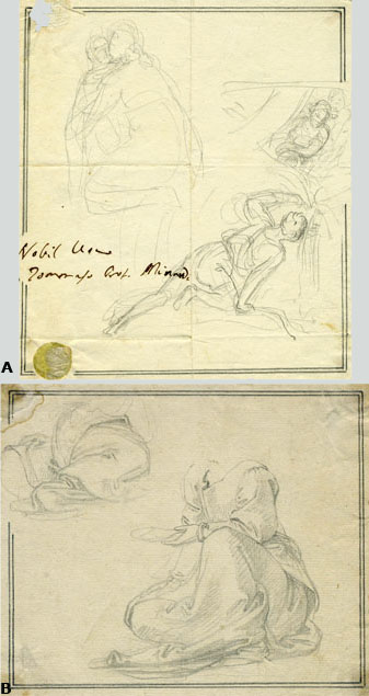 Tommaso Minardi, a pair of drawings: sketches and studies of draperies