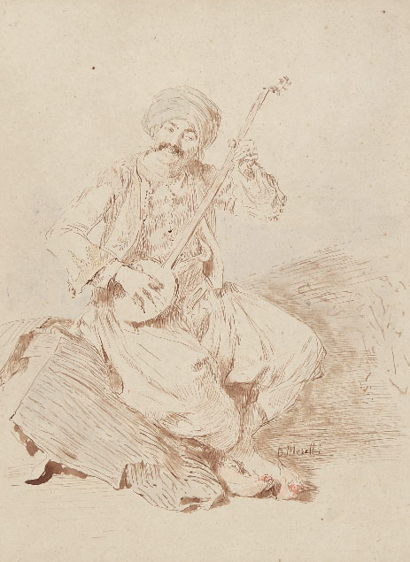 Domenico Morelli, an arab playing the lute