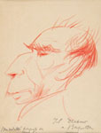 ENZO MORELLI, Caricatural Portrait of the Sculptor Enrico Mazzolani, red chalk