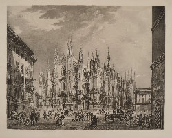 FILIPPO NAYMILLER, View of the Duomo in Milan, etching, avant la lettre