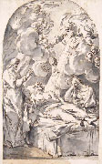 NEAPOLITAN ARTIST, XVIII century, Death of Saint Joseph, pen and wash
