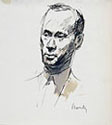 GIUSEPPE NOVELLO, Portrait of Architect Erberto Carboni, pen and wash