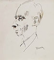 GIUSEPPE NOVELLO, Portrait of the Sculptor Enrico Mazzolani, pen and wash