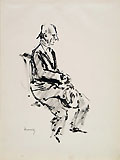 GIUSEPPE NOVELLO, Portrait of the Sculptor Enrico Mazzolani, seated, pen and wash
