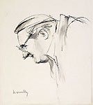 GIUSEPPE NOVELLO, Portrait of the Painter Enzo Morelli, pen and wash