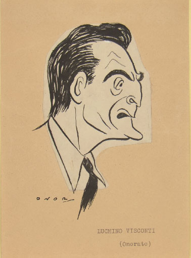 Umberto Onorato, caricatural portrait of Luchino Visconti