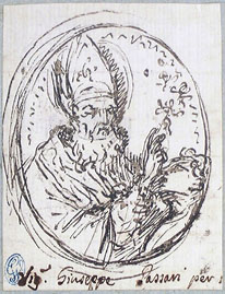 Giuseppe Passeri, medallion with a bishop saint