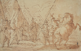 GIUSEPPE PIATTOLI, Scene in an Ancient Military Camp, pen and wash