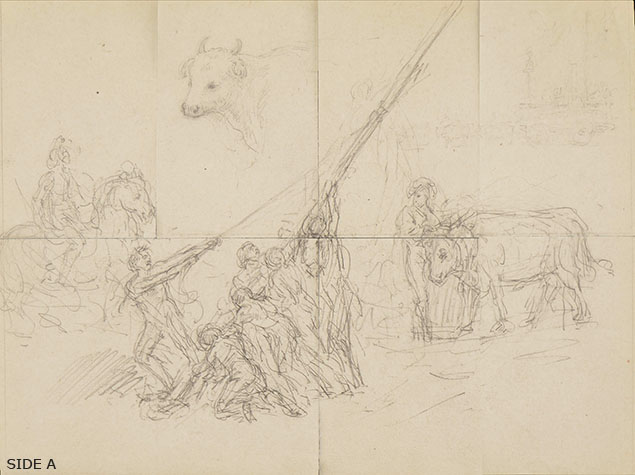 Il Piccio, An interesting group of five drawings, derived from cutting a larger sheet of study, side A