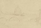 GIOVANNI CARNOVALI called IL PICCIO, A View of St. Peter from the Tiber, black chalk
