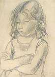 ENNIO POZZI, Child with Crossed Arms, black chalk