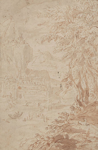 LODEWIJK TOEPUT called POZZOSERRATO, Mountainous River Landscape, pen