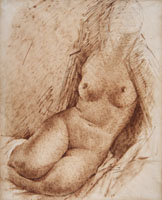 GAETANO PREVIATI, Study of a Female Nude, brush and brown ink, over traces in black chalk