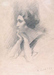 ARTURO RIETTI, Portrait of a Young Woman, black chalk