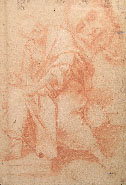 Roman Artist, 17th century, Seated Male Figure, red chalk