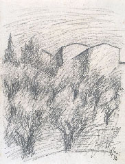OTTONE ROSAI, Landscape with Olive Trees and Houses, black chalk